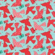 Moda Kiss Kiss by Abi Hall - 4025 - Lovebirds on Mint - 35251 14 - Cotton Fabric